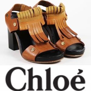 Chloe Kiltie Block Heel Sandals in brown tan orang